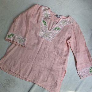Barbara Gerwit Beaded Sealife Linen Tunic New cond